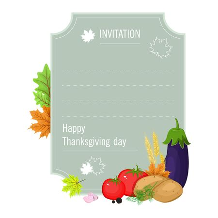 Hand drawn thanksgiving greeting card with set . Vector illustration EPS 10 写真素材 - 132649376