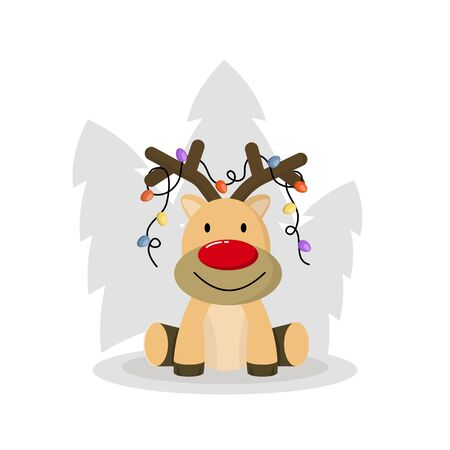 Cute christmas deer vector. Funny cartoon deer with decorative horns. On the horns are colorful lanterns. Holiday gifts.