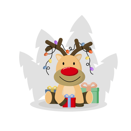 Cute christmas deer vector. Funny cartoon deer with decorative lights. Gifts for the holiday.