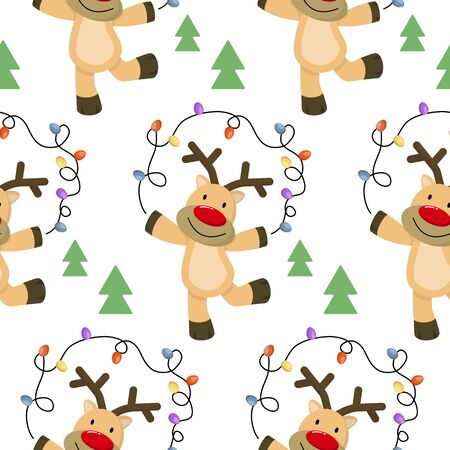 Christmas seamless pattern with deers and trees.