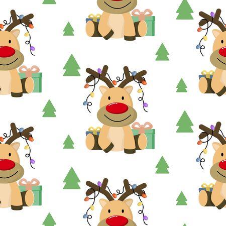 Christmas seamless pattern with cute cartoon sleepy deer and trees on white