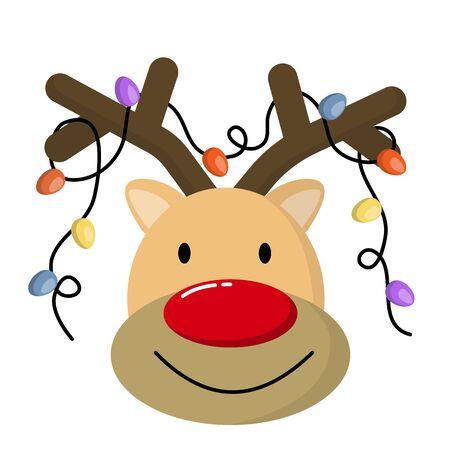 Funny cartoon deer with decorative lights.