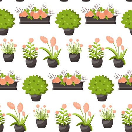 Seamless  with plants in pots