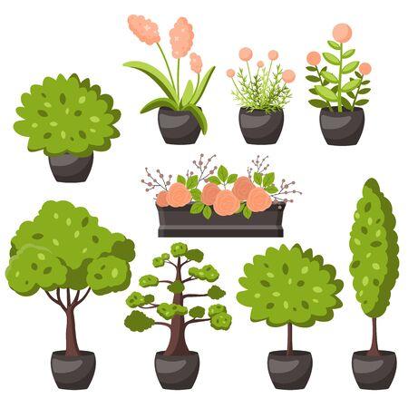Tree   cartoon decorative icons on a white  イラスト・ベクター素材