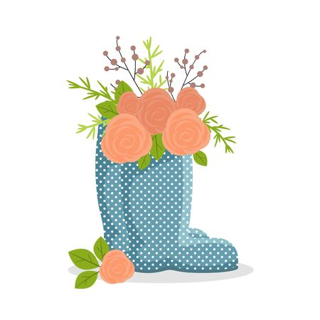 Cute rubber boots with floral bouquets