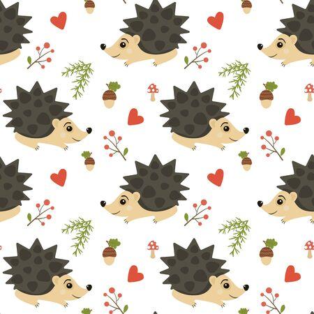 Seamless cute hedgehog animal pattern vector. 写真素材 - 136683245