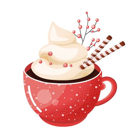 Hot chocolate cup. Christmas drink on winter background. Red mug of cacao to go. Seasonal banner. Colorful vector illustration. Digitally hand drawn.