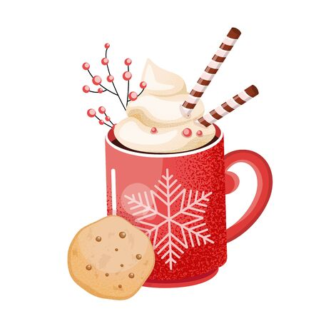 A cup of hot chocolate. Christmas drink on a winter background. A red mug of cocoa with a big snowflake and cookies to go. Seasonal banner. Colorful vector illustration. Digital hand-drawn. 写真素材 - 136399321