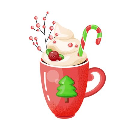 A cup of hot chocolate with green spruce. Christmas drink on a winter background. Red mug of cocoa to go. Seasonal banner. Colorful vector illustration. Digital hand-drawn.  イラスト・ベクター素材