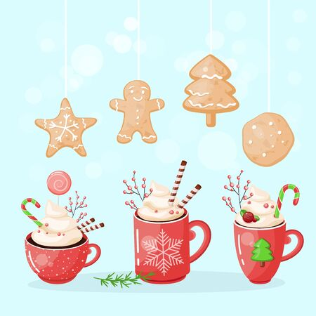 A set of cups of hot chocolate with cookies on top. Christmas drink on a winter background. Red mug of cocoa to go. Seasonal banner. Colorful vector illustration. Digital hand-drawn.