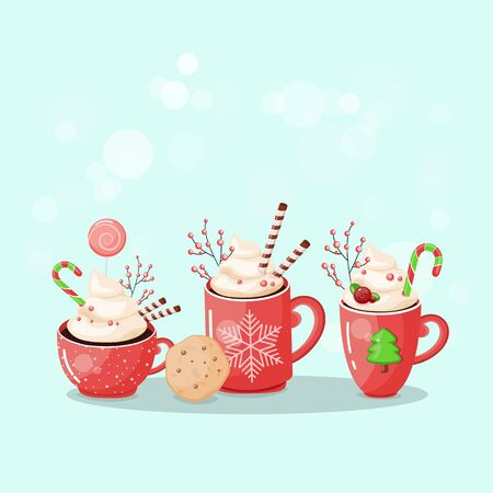 A set of cups of hot chocolate. Christmas drink on a winter background. Red mug of cocoa to go. Seasonal banner. Colorful vector illustration. Digital hand-drawn.