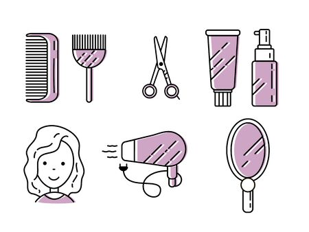 Set of illustrations with icons and signs in a linear style for a hair salon. 写真素材 - 138345982