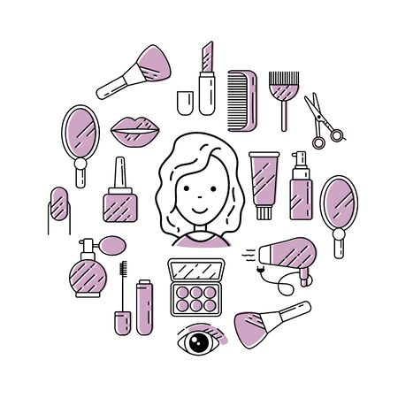 Illustration of cosmetics with icons and signs in a linear style. 写真素材 - 138345986