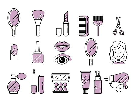 Set of illustration cosmetics with icons and signs in a linear style.