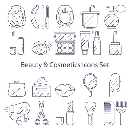 Set of icons for beauty and cosmetics created under the influence of a beauty salon, makeup and cosmetics.
