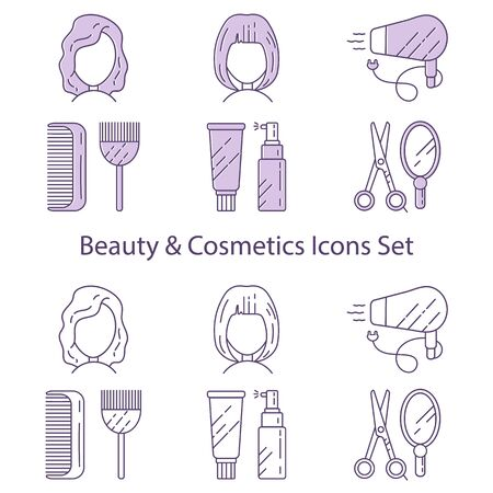 Set of icons for beauty and cosmetics created under the influence of a beauty salon.
