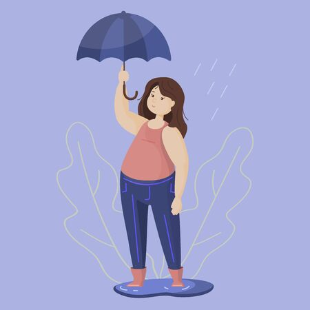 Running girl with umbrella on an isolated background. Abstract image. Vector graphics.