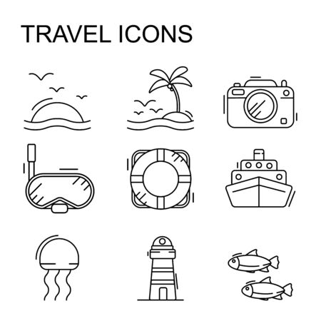 Tour and travel outline icon set vector on white