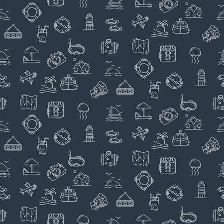 Stylish seamless pattern with laconic travel and vacation icons.