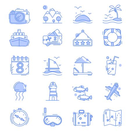 Line icons with flat design elements of air travel to resort vacation 写真素材 - 142223657