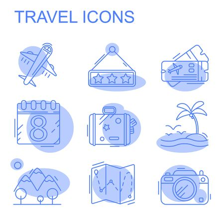 Line icons with flat design elements of air travel for spa holidays, tour planning.