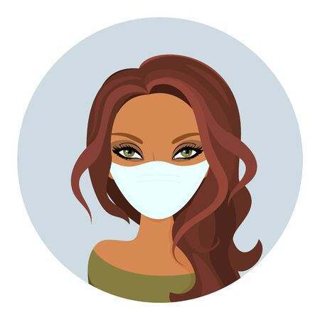 Woman face in Medical blue mask. Young girl in medical protection mask. Vector illustration of health care people. Cartoon flat style. Protection against viruses, bacteria and flu.