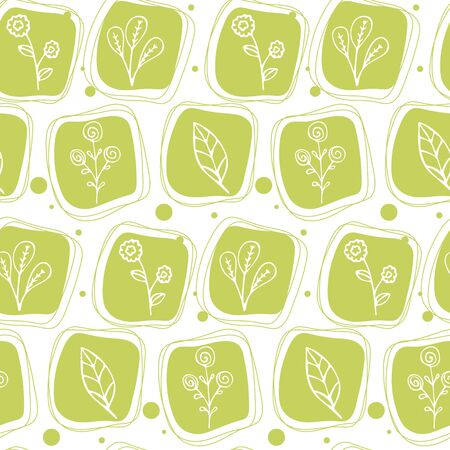 Seamless texture with floral pattern in doodle style