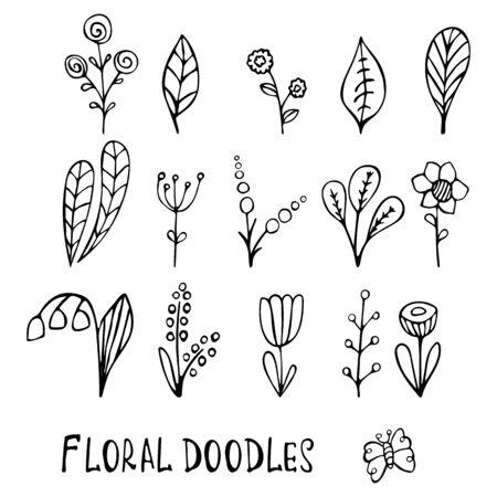Sweet vector flowers hand drawn, black flowers, hand drawn illustration