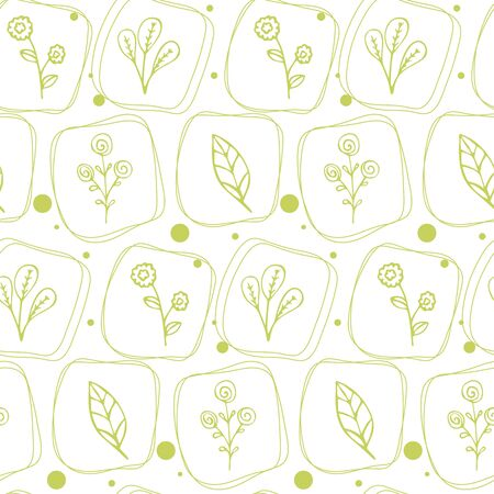 Seamless texture with floral pattern in doodle style.  イラスト・ベクター素材