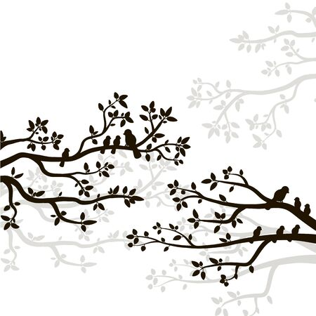 Silhouette of spring birds sitting on a tree twig. Decorative tree branch with birds.