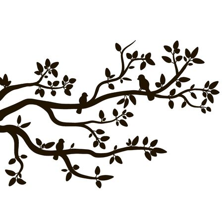 Silhouette of spring birds sitting on a tree twig. Decorative tree branch with birds. Stock vector.