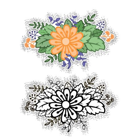 Flower arrangement in color and black and white. Floral motif for design elements vector.  イラスト・ベクター素材