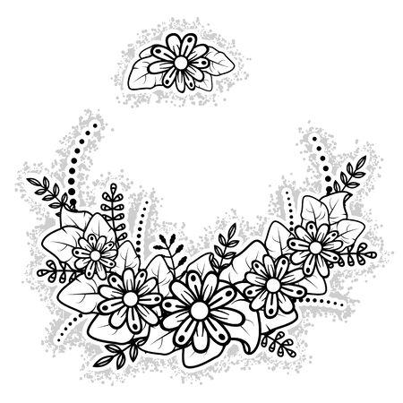 Flower arrangement. Chenny flower ornament on a white background. Vector illustration.  イラスト・ベクター素材