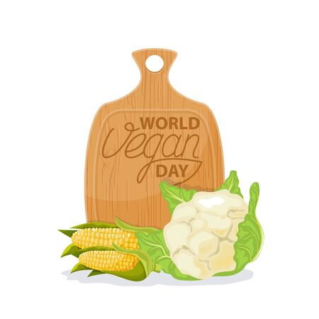 World Vegan Day  vector with vegeratble isolated.