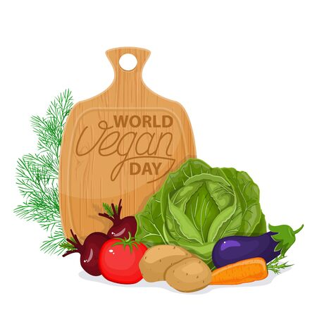 International day without meat. Go vegan banner vector isolated. Healthy vegetarian food. Fresh vegetables and a wooden board with the inscription.