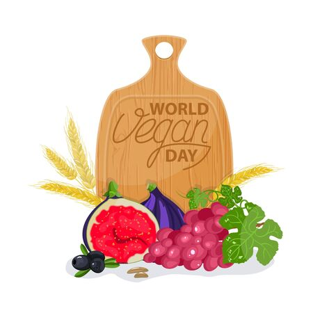 International day without meat. Go vegan banner vector isolated. Healthy vegetarian food. Fresh fruits.