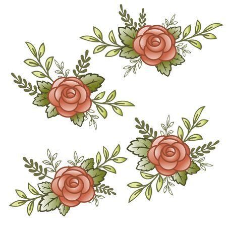 Flowers roses, red buds and green leaves. Set collection. Isolated on white background. Vector illustration. Greeting card design and wedding invitation, birthday, valentines day, mothers day, celebration.