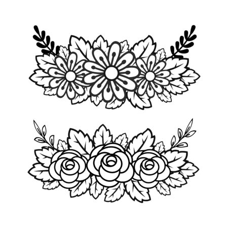 Two floral arrangements in color and black and white.