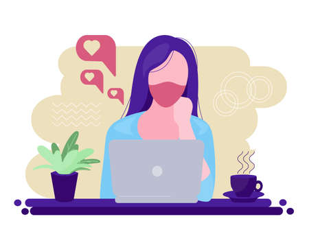 The girl works at the laptop. Solving problems or questions at work, looking for answers and ideas. A woman filled with ideas, thoughts.Vector. 矢量图像