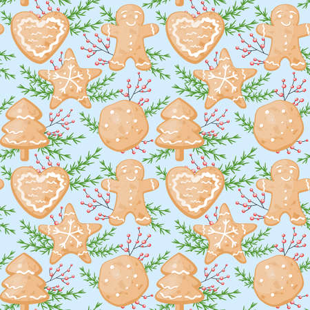 Hand drawn vector cute cartoon seamless pattern illustration with Merry Christmas and Happy New Year cookies for baby fabric, wallpaper, fabric, texture, wrapping paper or home decoration. 矢量图像