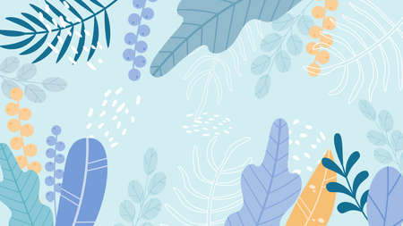 Vector illustration in simple flat style with copy space for text - background with plants and leaves - background for greeting cards, posters, banners and posters