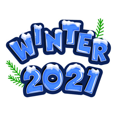 The word winter 2021 covered with layers of snow ice, on the text with snowflakes behind. Stock vector. Text in cartoon style.