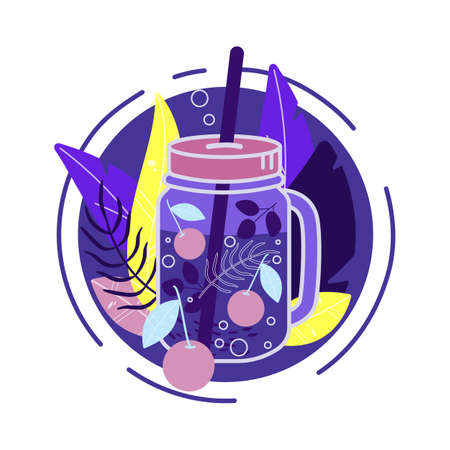 Fresh berry smoothie in a glass with a straw. Cherry drinks. Glass jar with lemonade, cocktail. Bright vector illustration. 矢量图像