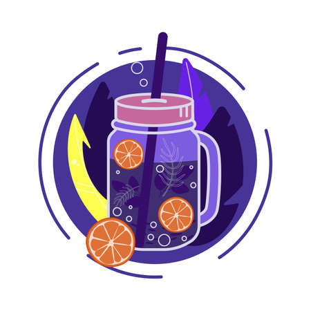 Vector illustration of lemonade in a glass with a straw. Isolated over white background.