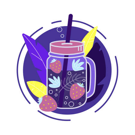 Jar of lemonade with red strawberry illustration. Cute vector drawing of a fresh summer drink with a straw. Bright vector illustration.