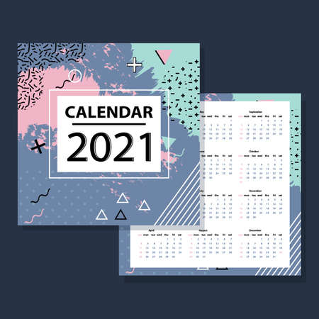 Simple calendar diagram for 2021. Week starts on Sunday. Stock vector.