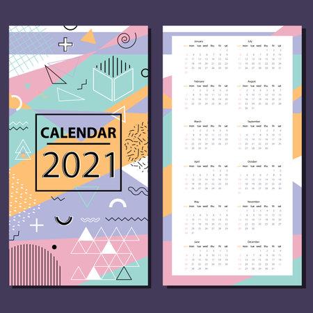 Calendar 2021 - vector illustration. Week starts on Sunday. Stock vector.