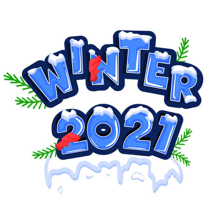 Winter 2021. Greeting card with date and ribbon on white background. Stock vector.