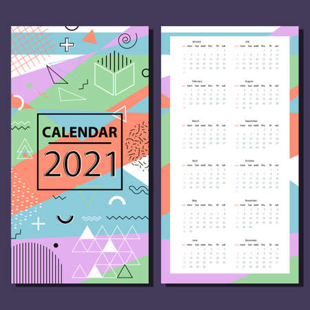 Simple calendar chart for 2021. Week starts on Sunday. Memphis style. stock vector.