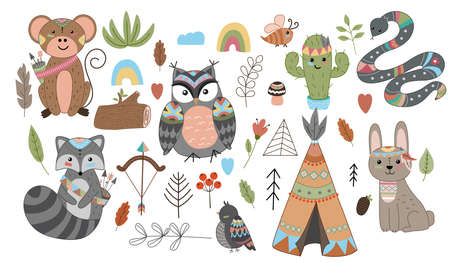 Funny breeding animals. Forest animal cub, cute wild raccoon, monkey, snake and owl funny cactus. Isolated cartoon vector symbols icons set.